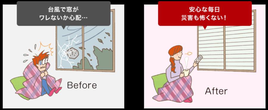 Before 台風で窓がワレないか心配… After 安心な毎日災害も怖くない!