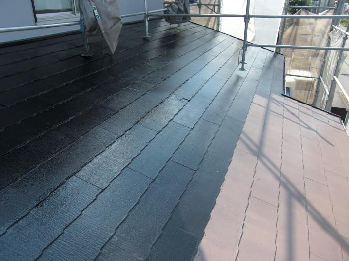 【屋根】上塗り1回目