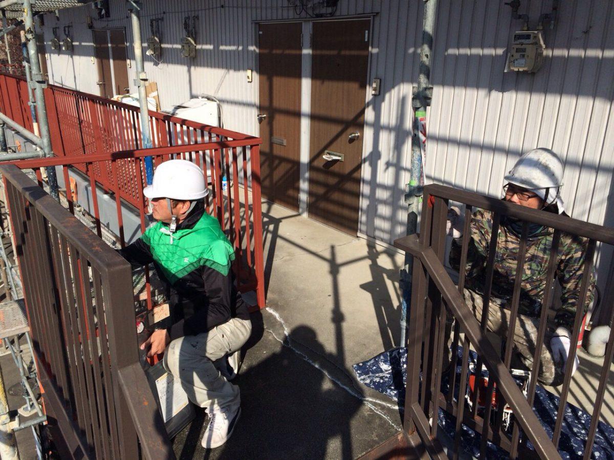 小牧市 アパート 手摺り・階段塗装