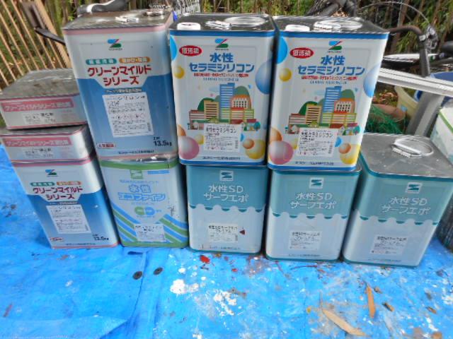 SDサーフエポ3缶 水性セラミシリコン2缶(SR163) 水性セラミシリコン1缶(SR 413調色) 水性エコファイン1缶(SR163調色) クリーンマイルドシリコン1缶(255) クリーンマイルドシリコン1缶(黒)