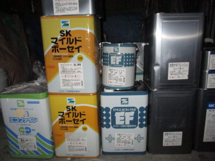 水性ヤネフレッシュシーラー 2缶 水性ヤネフレッシュフッソ 2缶 RC-114 ディープグリーン マイルドボーセイ 赤 1缶 マイルドボーセイ 白 1缶 エコファイン 19-85L(調色)
