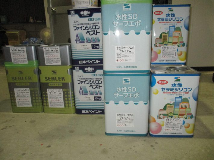 SDサーフエポ 3缶 水性セラミシリコン(SR414)3缶 マイルドシーラーEPO 1セット ファインシリコンベスト(ブラック)2缶