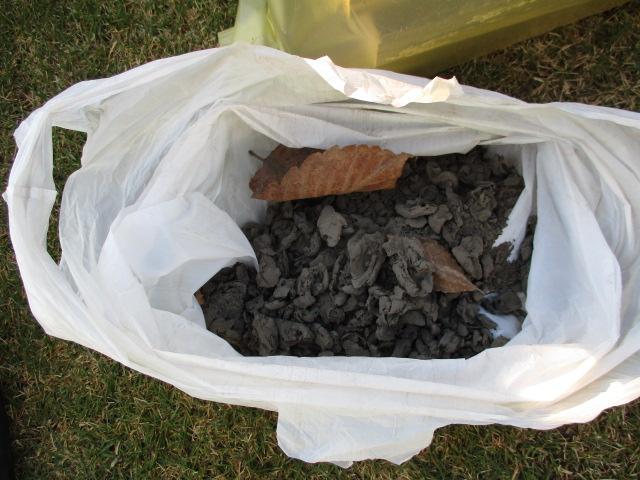 長年のゴミを高圧洗浄の前に取り除きます。
