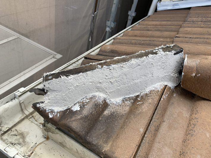 漆喰 漆喰が剥がれてガタついていましたので、サービスで補修致しました。
